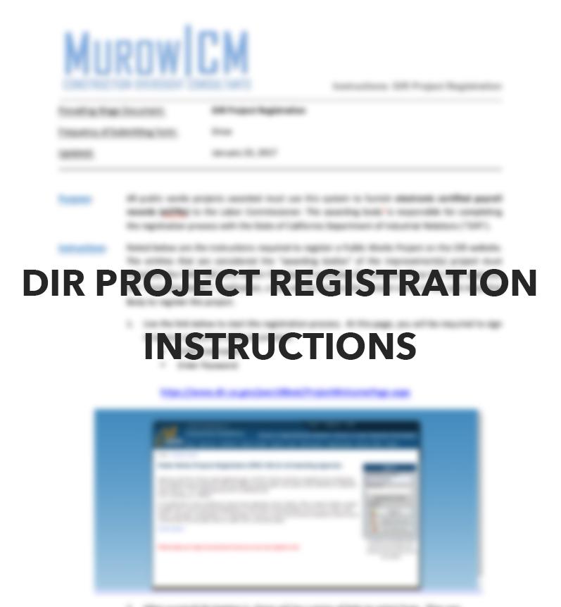 DIR Project Registration Instructions